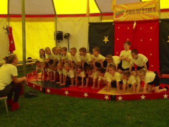 Childrens circus show rehearsals