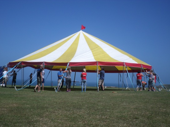 Up goes our little bigtop!