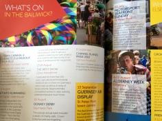 Spot Zaz in the Channel Islands in flight magazine promoting Alderney week