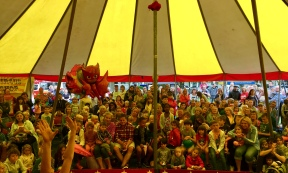a backstage photo snap of the full house packed tent @Worthing carnival