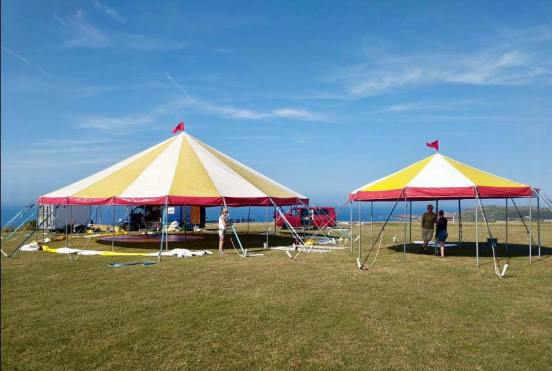 Setting up the bigtop On Alderney Island