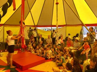 Cj Carnell teaches areial silks workshops for kids @Alderney week